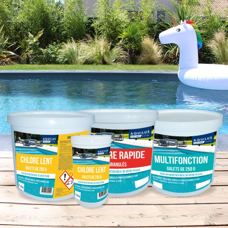 Traitez l'eau de votre piscine Aquilus avec du Chlore