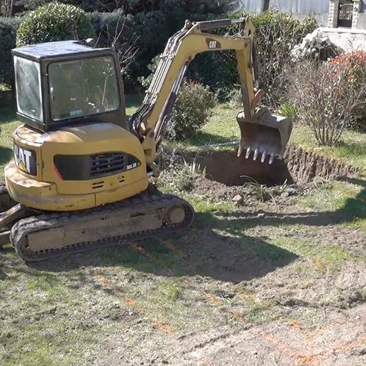 chantier piscine : le terrassement